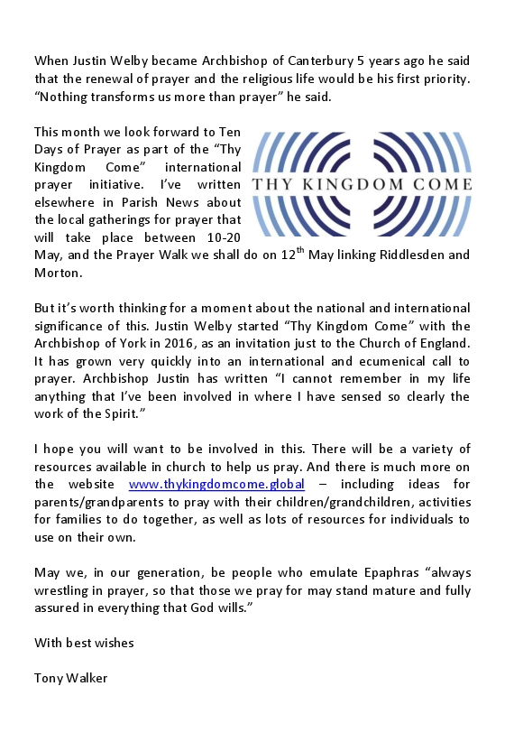 Vicar's Letter – May 2018 | St Mary's Church Riddlesden